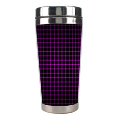Optical Illusion Grid in Black and Neon Pink Stainless Steel Travel Tumblers