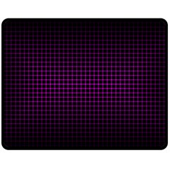 Optical Illusion Grid in Black and Neon Pink Double Sided Fleece Blanket (Medium)
