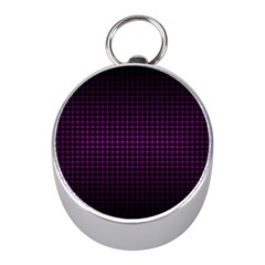 Optical Illusion Grid in Black and Neon Pink Mini Silver Compasses