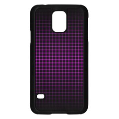 Optical Illusion Grid in Black and Neon Pink Samsung Galaxy S5 Case (Black)