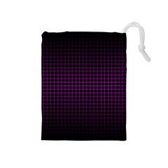 Optical Illusion Grid in Black and Neon Pink Drawstring Pouches (Medium)