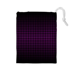 Optical Illusion Grid in Black and Neon Pink Drawstring Pouches (Large)