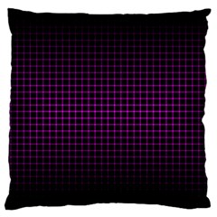 Optical Illusion Grid in Black and Neon Pink Large Flano Cushion Case (One Side)