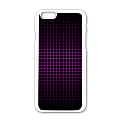 Optical Illusion Grid in Black and Neon Pink Apple iPhone 6/6S White Enamel Case