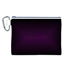 Optical Illusion Grid in Black and Neon Pink Canvas Cosmetic Bag (L)