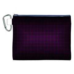 Optical Illusion Grid in Black and Neon Pink Canvas Cosmetic Bag (XXL)