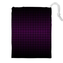 Optical Illusion Grid in Black and Neon Pink Drawstring Pouches (XXL)