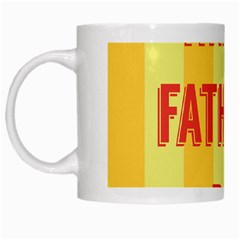 Happy Fathers Day Yellow Stripes White Mugs