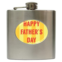 Happy Fathers Day Yellow Stripes Hip Flask (6 oz)