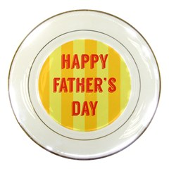 Happy Fathers Day Yellow Stripes Porcelain Plates