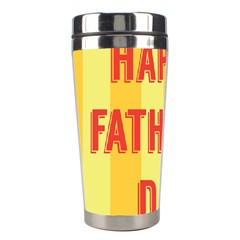 Happy Fathers Day Yellow Stripes Stainless Steel Travel Tumblers