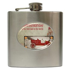 Happy Fathers Day Old Car Hip Flask (6 oz)