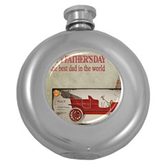 Happy Fathers Day Old Car Round Hip Flask (5 oz)