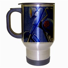 Happy Fathers Day Blue Motorcycle Travel Mug (Silver Gray)