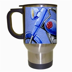 Happy Fathers Day Blue Motorcycle Travel Mugs (White)