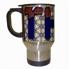 Fathers Day Blue Brown Travel Mugs (White)