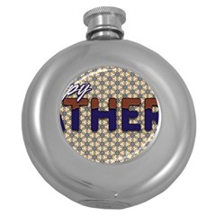 Fathers Day Blue Brown Round Hip Flask (5 oz)