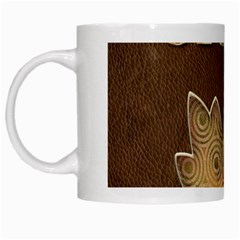 Dad W Maple Leaf Brown White Mugs