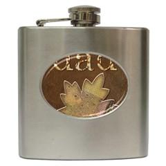 Dad W Maple Leaf Brown Hip Flask (6 oz)