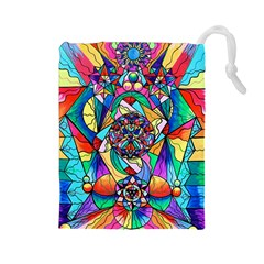 Blue Ray Transcendance Grid - Drawstring Pouch (Large)