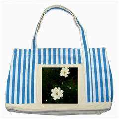 Daisies In Green Striped Blue Tote Bag