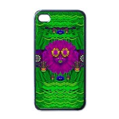 Summer Flower Girl With Pandas Dancing In The Green Apple Iphone 4 Case (black)