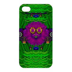 Summer Flower Girl With Pandas Dancing In The Green Apple iPhone 4/4S Premium Hardshell Case