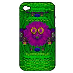 Summer Flower Girl With Pandas Dancing In The Green Apple Iphone 4/4s Hardshell Case (pc+silicone)