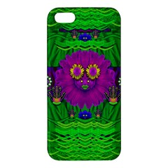 Summer Flower Girl With Pandas Dancing In The Green Apple Iphone 5 Premium Hardshell Case