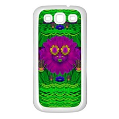 Summer Flower Girl With Pandas Dancing In The Green Samsung Galaxy S3 Back Case (White)