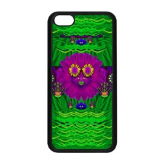 Summer Flower Girl With Pandas Dancing In The Green Apple iPhone 5C Seamless Case (Black)