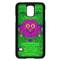 Summer Flower Girl With Pandas Dancing In The Green Samsung Galaxy S5 Case (Black)