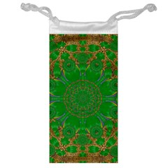 Summer Landscape In Green And Gold Jewelry Bag