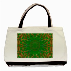 Summer Landscape In Green And Gold Basic Tote Bag (two Sides)