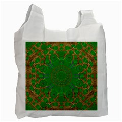 Summer Landscape In Green And Gold Recycle Bag (one Side)
