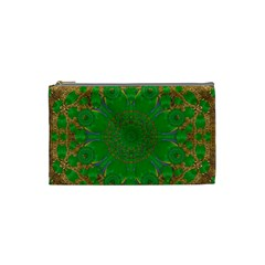 Summer Landscape In Green And Gold Cosmetic Bag (Small)