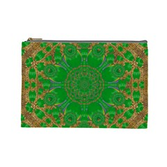 Summer Landscape In Green And Gold Cosmetic Bag (large)