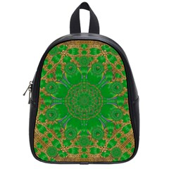 Summer Landscape In Green And Gold School Bags (small)