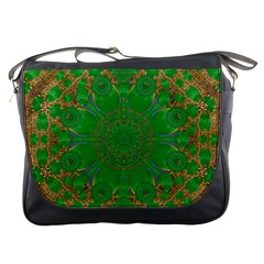 Summer Landscape In Green And Gold Messenger Bags