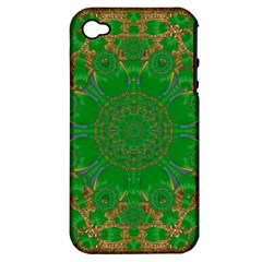 Summer Landscape In Green And Gold Apple iPhone 4/4S Hardshell Case (PC+Silicone)