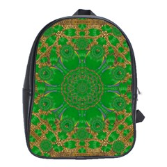 Summer Landscape In Green And Gold School Bags (XL)