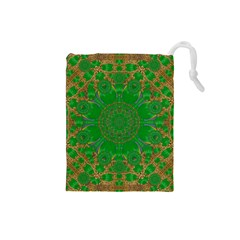 Summer Landscape In Green And Gold Drawstring Pouches (small)