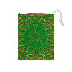 Summer Landscape In Green And Gold Drawstring Pouches (medium)