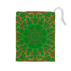 Summer Landscape In Green And Gold Drawstring Pouches (Large)