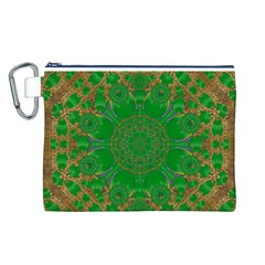 Summer Landscape In Green And Gold Canvas Cosmetic Bag (L)