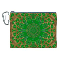 Summer Landscape In Green And Gold Canvas Cosmetic Bag (XXL)