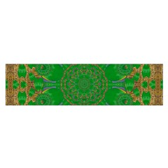 Summer Landscape In Green And Gold Satin Scarf (Oblong)