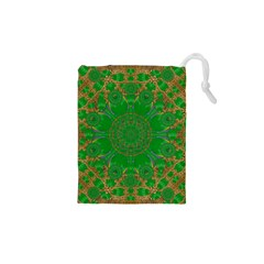 Summer Landscape In Green And Gold Drawstring Pouches (xs)