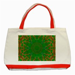 Summer Landscape In Green And Gold Classic Tote Bag (Red)