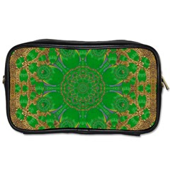 Summer Landscape In Green And Gold Toiletries Bags